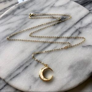 Mother Of Pearl Moon Lariat Necklace